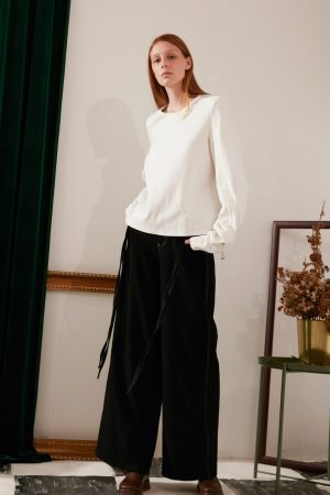 SKYE modern minimalist women fashion drawstring long sleeve top whiteSKYE modern minimalist women fashion drawstring long sleeve top white