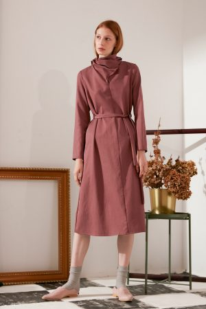 SKYE modern minimalist women fashion long sleeve asymmetrical high collar dress maroon ethical sustainable