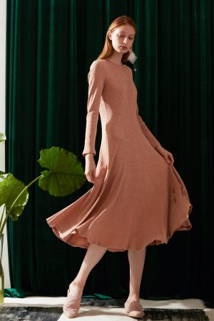 SKYE modern minimalist women fashion long sleeve fitted dress with flare apricot