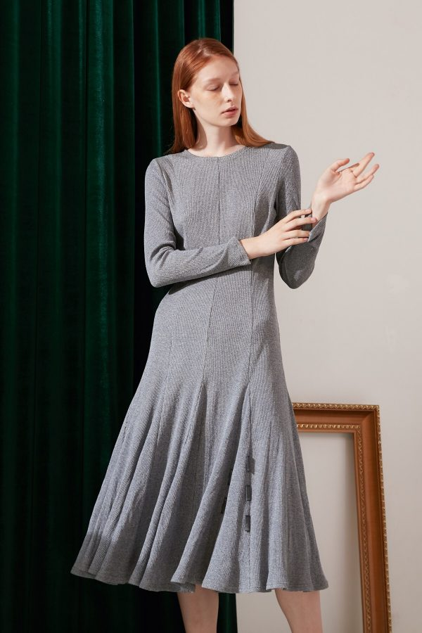 SKYE modern minimalist women fashion long sleeve flare dress light grey 7