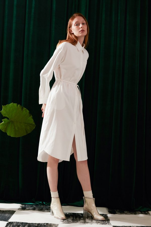 SKYE modern minimalist women fashion long sleeve shirt dress with tie belt white