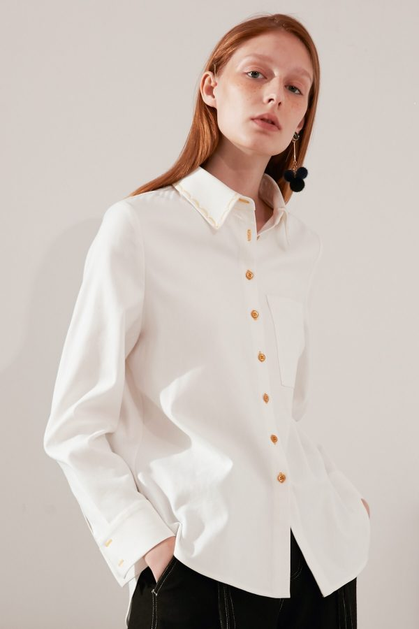 SKYE modern minimalist women fashion long sleeve shirt with gold embroidered collar white 2