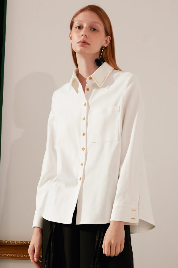 SKYE modern minimalist women fashion long sleeve shirt with gold embroidered collar white 3