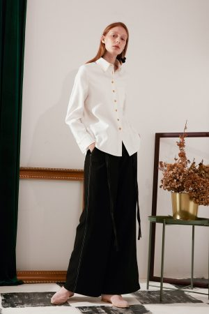 SKYE modern minimalist women fashion long sleeve shirt with gold embroidered collar white