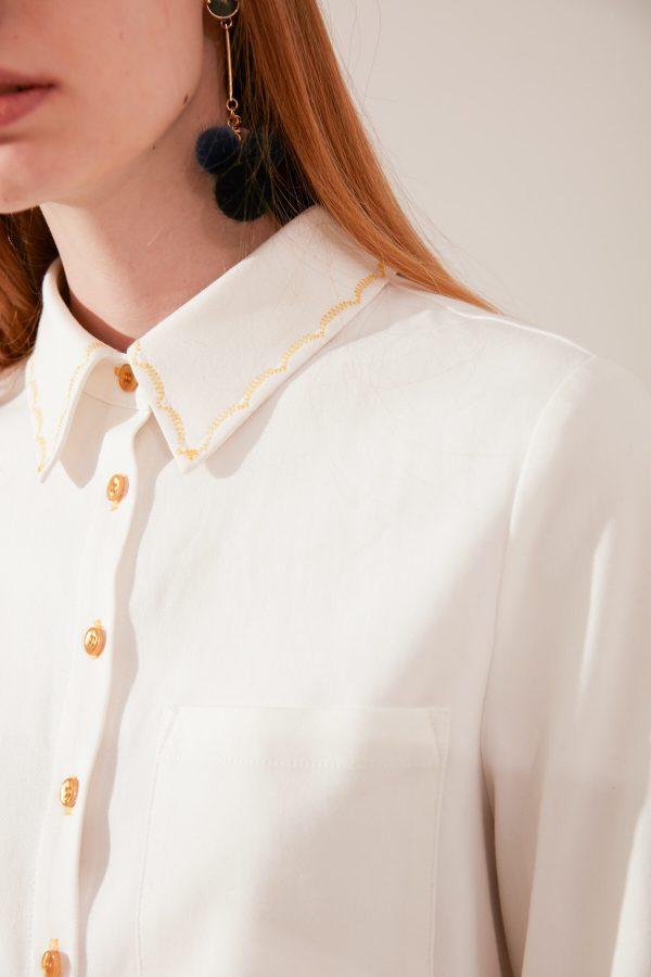 SKYE modern minimalist women fashion long sleeve shirt with gold embroidered collar white 8