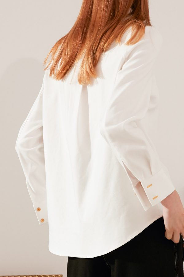 SKYE modern minimalist women fashion long sleeve shirt with gold embroidered collar white 9