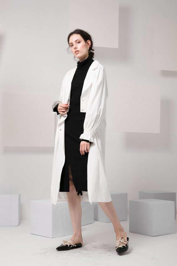 Skye minimalist modern women fashion convertible trench coat frill sleeves luxe fw 2018 2