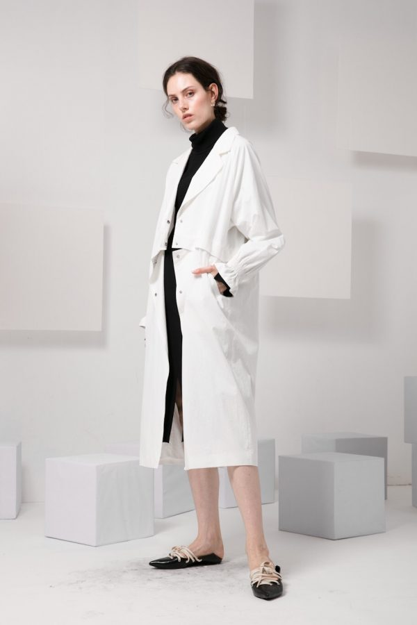 Skye minimalist modern women fashion convertible trench coat frill sleeves luxe fw 2018