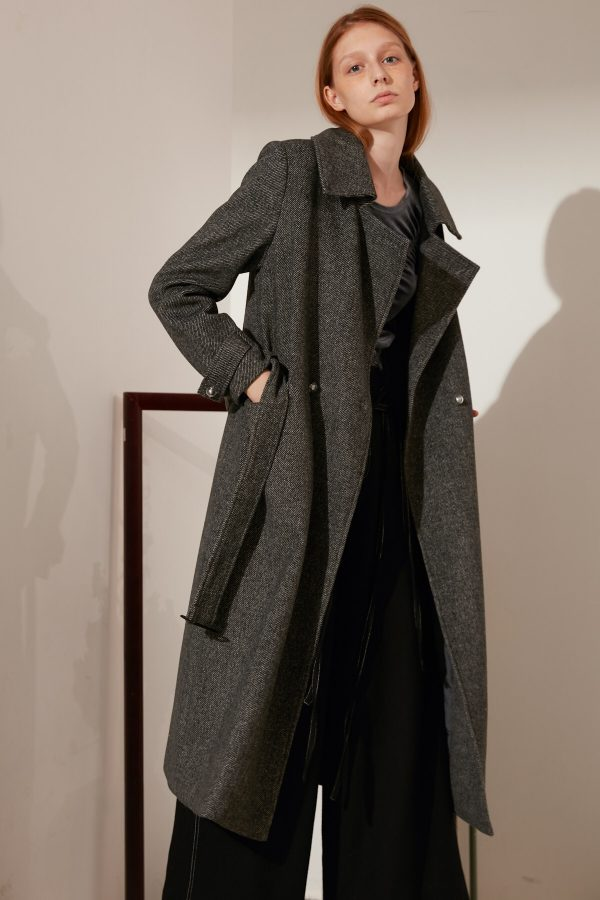 SKYE minimalist refined women fashion long wool coat dark grey 2