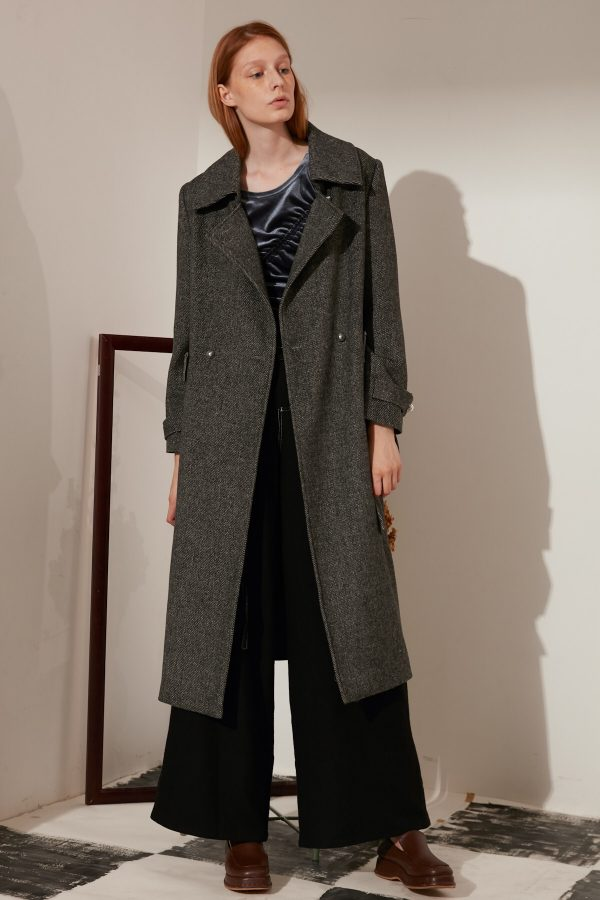 SKYE minimalist refined women fashion long wool coat dark grey