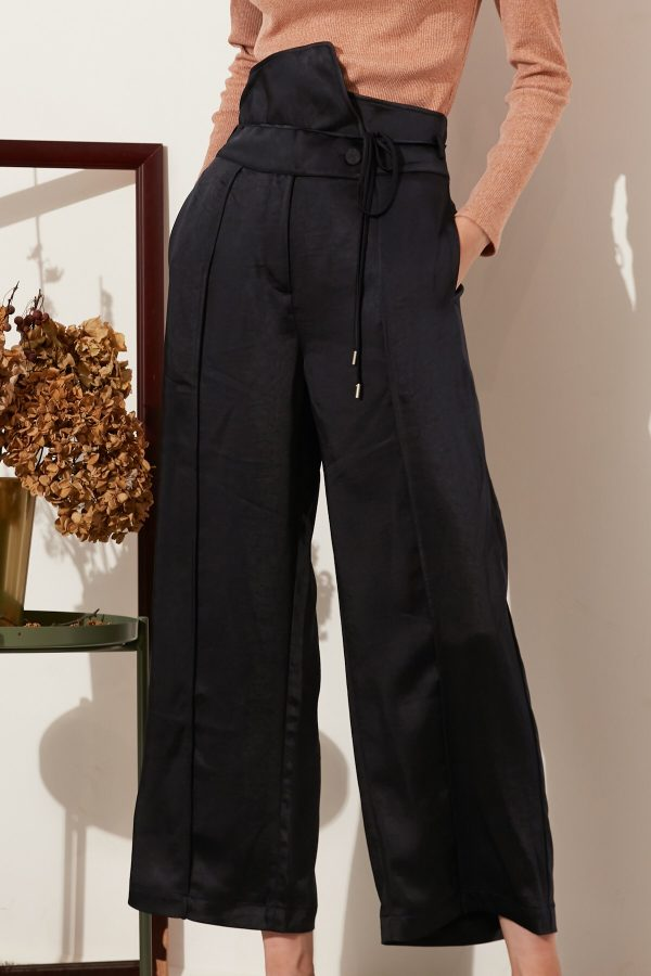SKYE modern minimalist women fashion long asymmetric high waist wide legged pants with tie belt black 3
