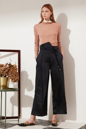 SKYE modern minimalist women fashion long asymmetric high waist wide legged pants with tie belt black