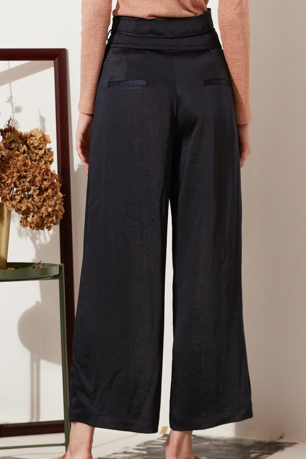 SKYE modern minimalist women fashion long asymmetric high waist wide legged pants with tie belt black 5