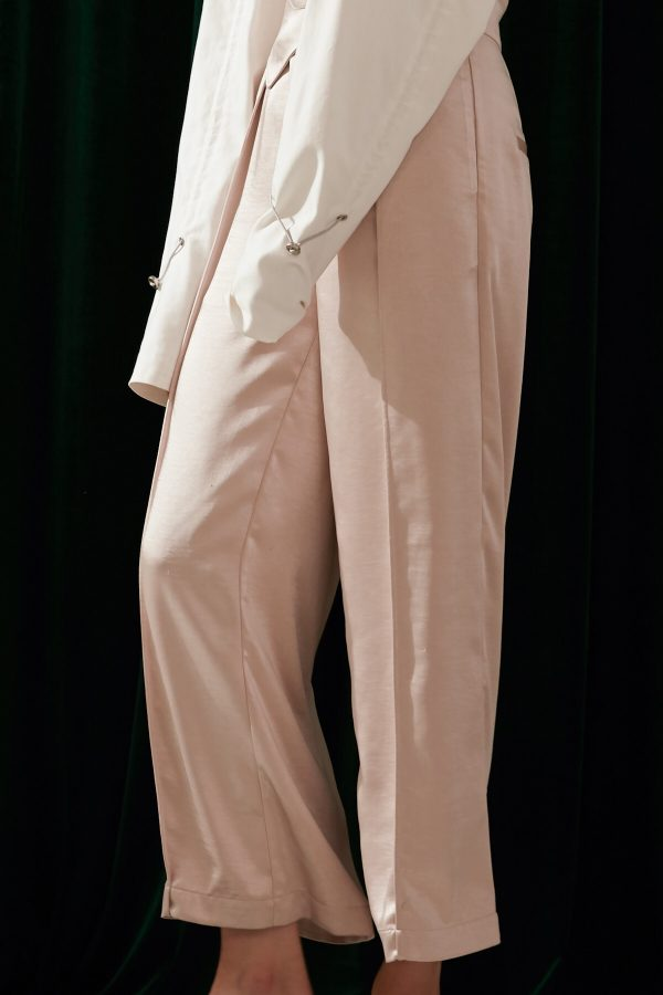 SKYE modern minimalist women fashion long asymmetric high waist wide legged pants with tie belt light beige 4