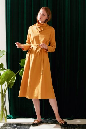SKYE modern minimalist women fashion long sleeve asymmetric high collar dress mustard