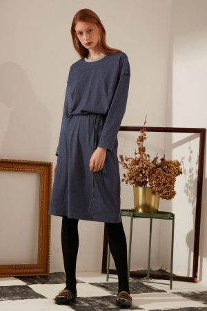 SKYE modern minimalist women fashion long sleeve denim dress tie belt
