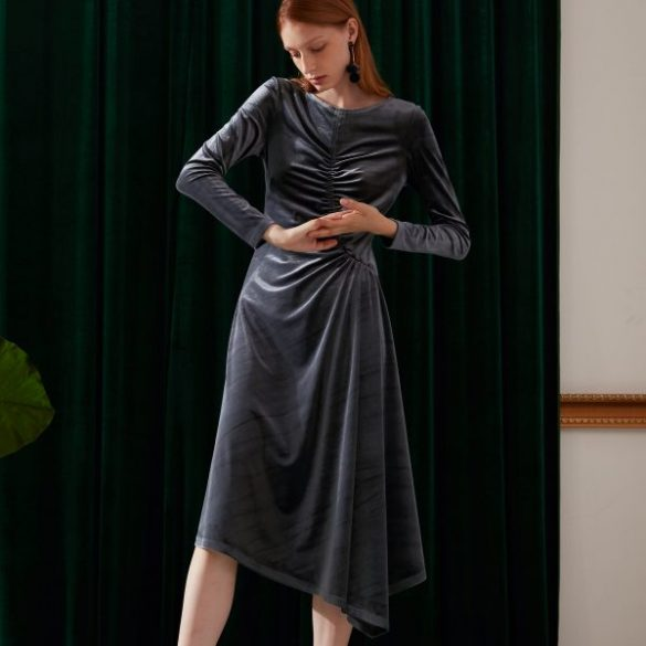 SKYE modern minimalist women fashion long sleeve gathered ruched dress grey