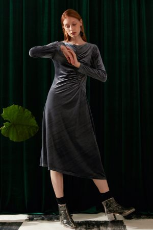 SKYE modern minimalist women fashion long sleeve velvet dress ethical sustainable