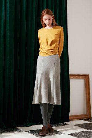 SKYE modern minimalist women fashion long sleeve wrap waist top mustard