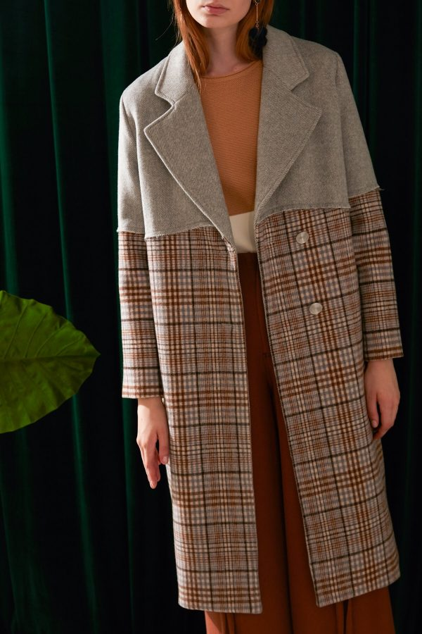 SKYE modern minimalist women fashion long wool plaid coat 3
