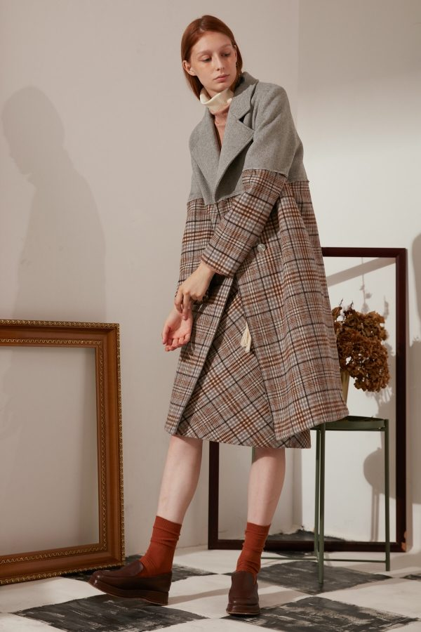 SKYE modern minimalist women fashion long wool plaid coat