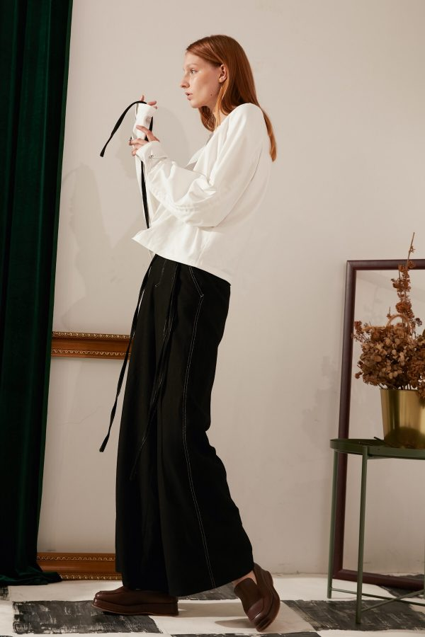 SKYE modern minimalist women fashion long wool wide legged pants with tie belt black 3