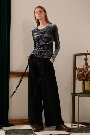 SKYE modern minimalist women fashion long wool wide legged pants with tie belt black