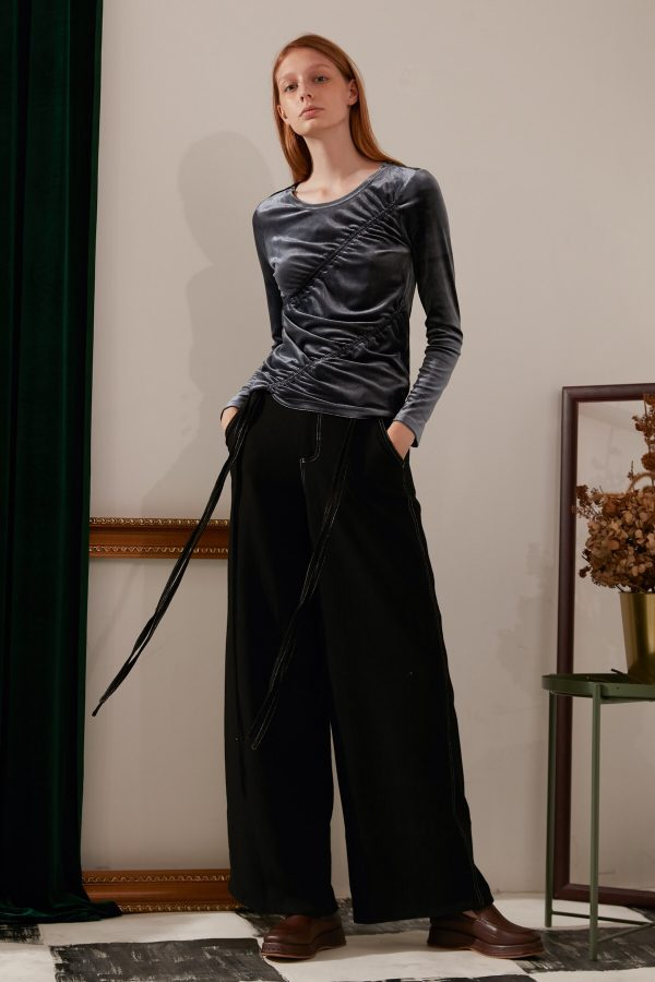 SKYE modern minimalist women fashion long wool wide legged pants with tie belt black 6