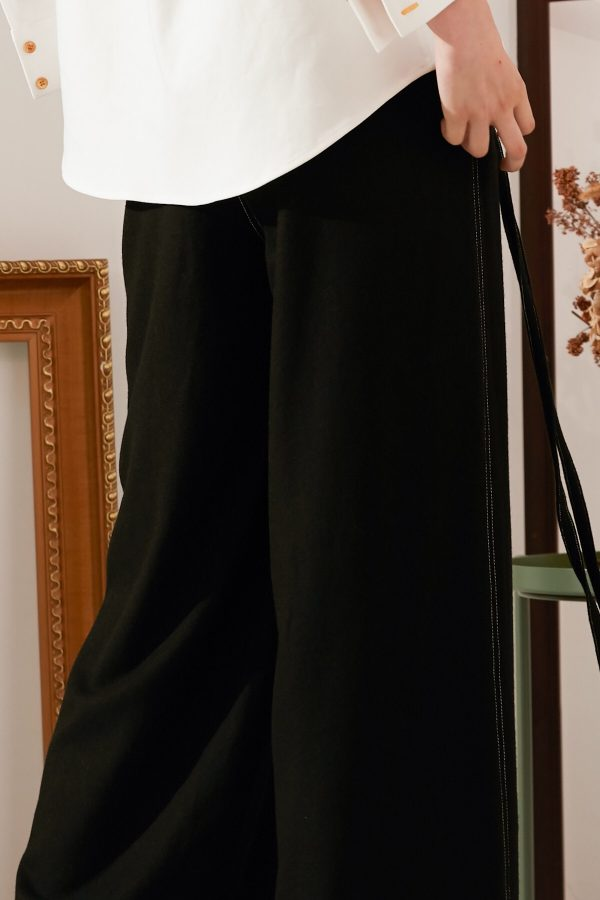 SKYE modern minimalist women fashion long wool wide legged pants with tie belt black 9