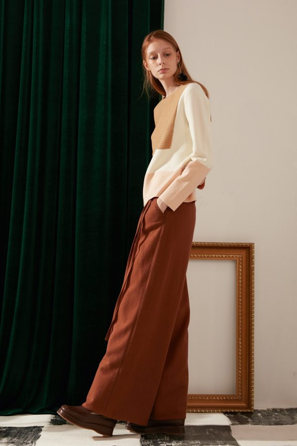 SKYE modern minimalist women fashion long wool wide legged pants with tie belt brown 3