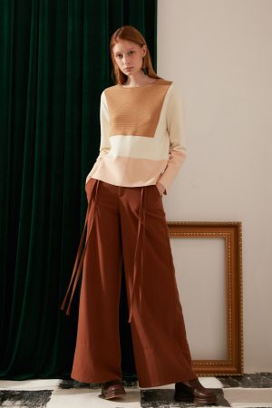 SKYE modern minimalist women fashion long wool wide legged pants with tie belt brown 6