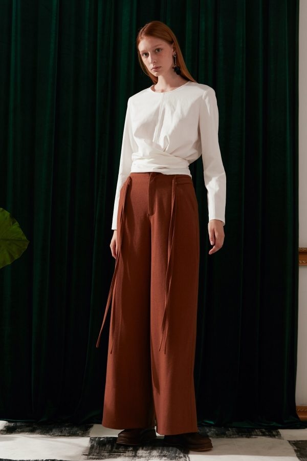 SKYE modern minimalist women fashion long wool wide legged pants with tie belt brown