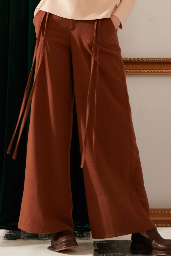 SKYE modern minimalist women fashion long wool wide legged pants with tie belt brown 7