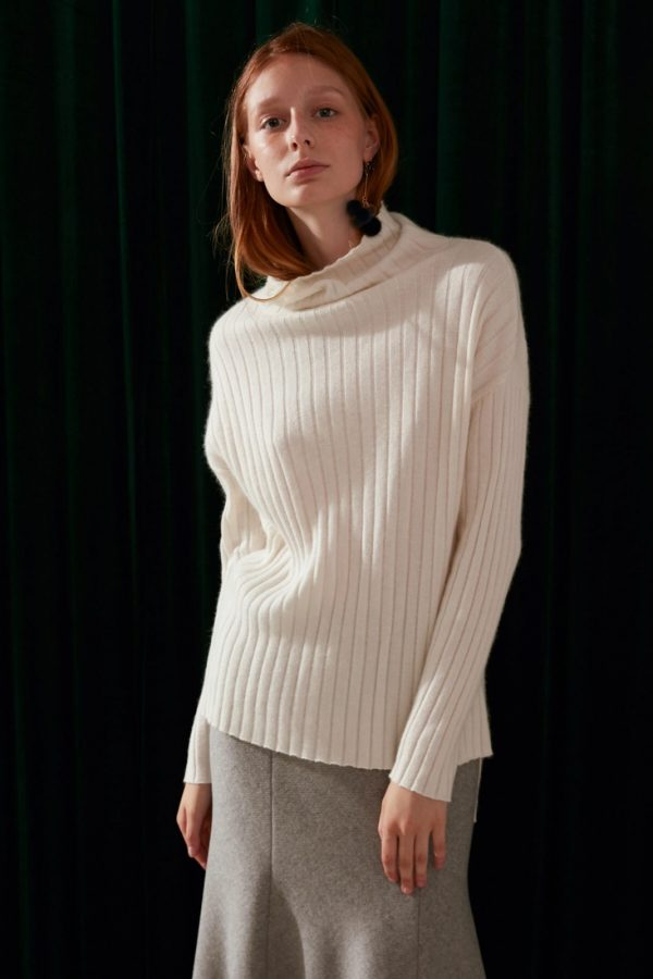 SKYE modern minimalist women fashion mock neck sweater white 2