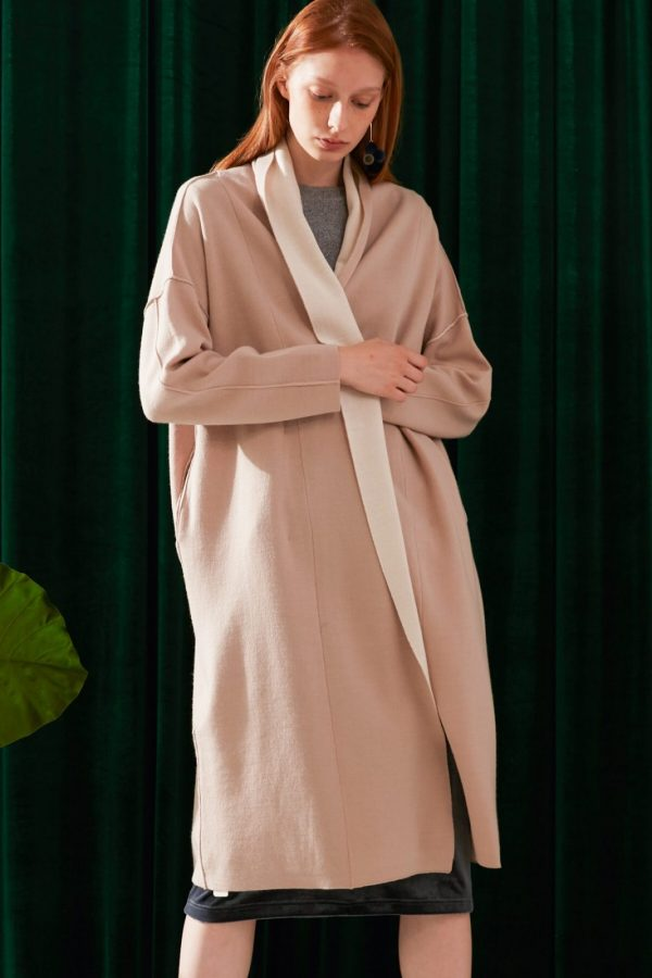 SKYE modern minimalist women fashion two tone long cardigan beige 4