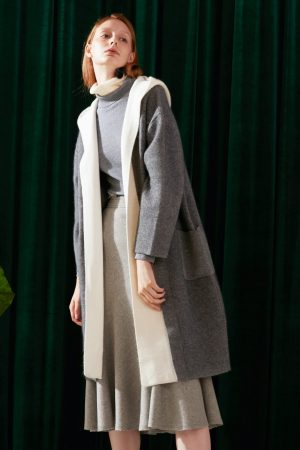 SKYE modern minimalist women fashion two tone long cardigan grey 4