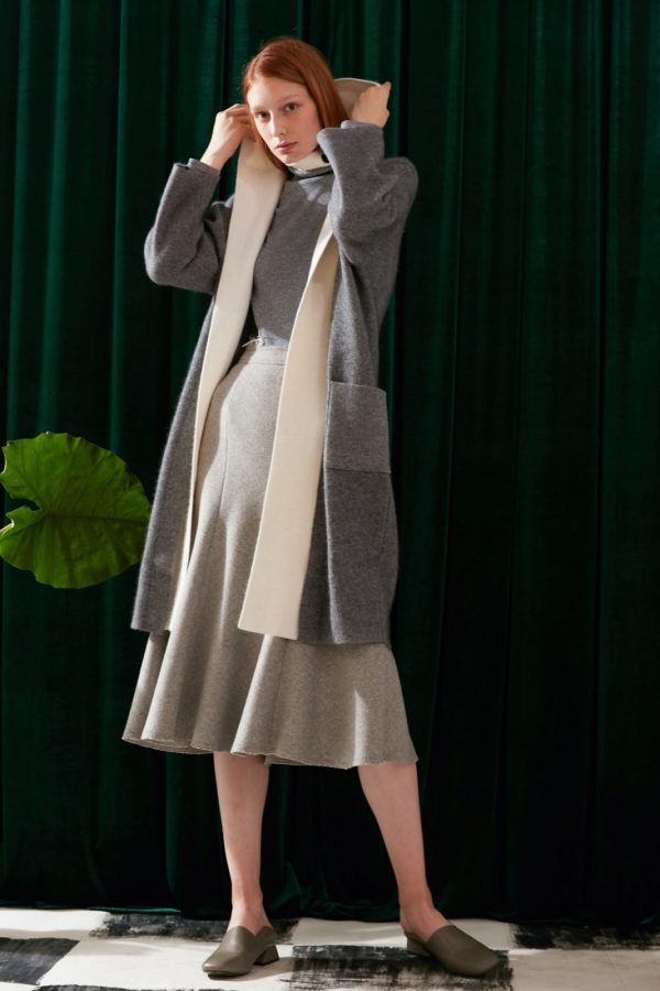 SKYE modern minimalist women fashion two tone long cardigan grey