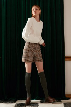 SKYE modern minimalist women fashion wool plaid shorts