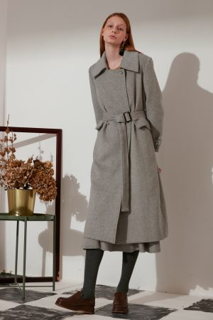 SKYE modern refined minimalist women fashion long wool coat light grey