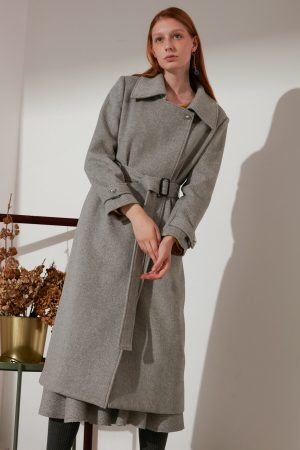 SKYE modern refined minimalist women fashion long wool coat light grey 4