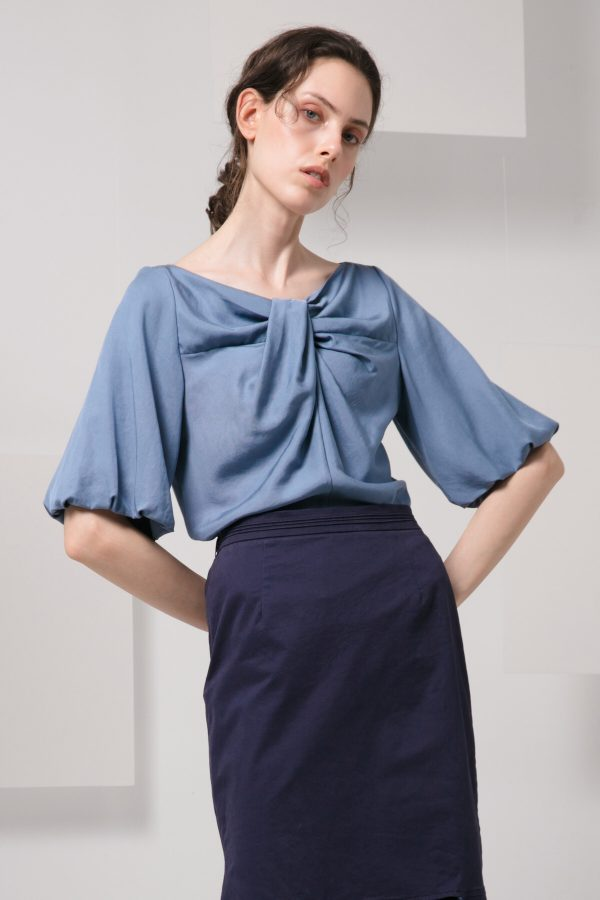SKYE minimalist women clothing fashion Kai Knot Top blue 2