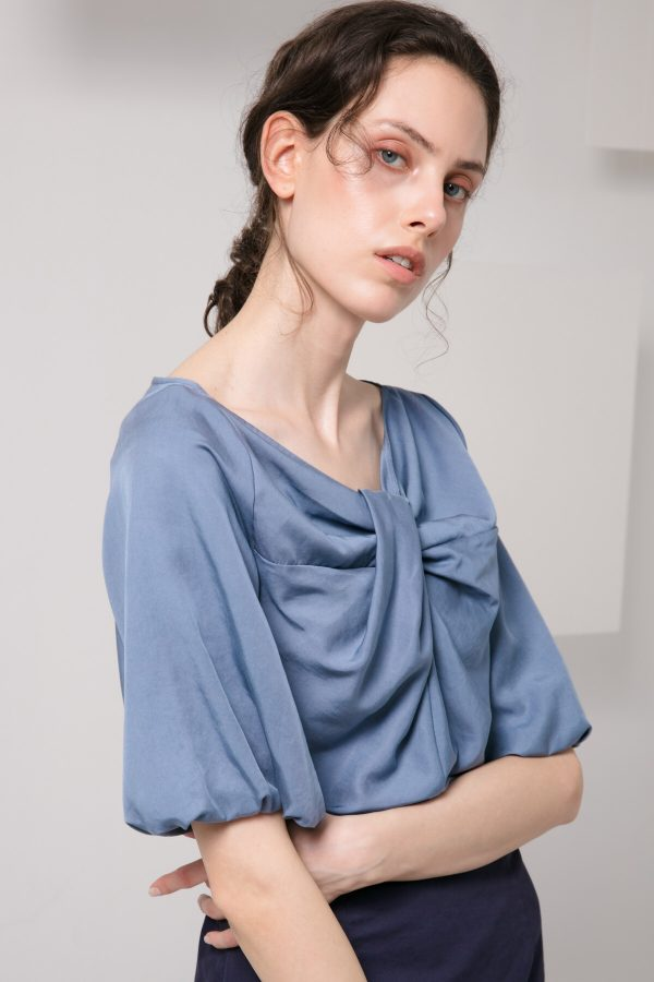 SKYE minimalist women clothing fashion Kai Knot Top blue 4