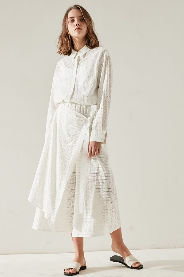 SKYE minimalist women clothing fashion Victoriana Shirt lace white