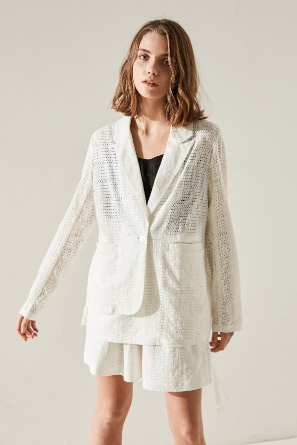 SKYE minimalist women fashion Charlotte blazer lace white