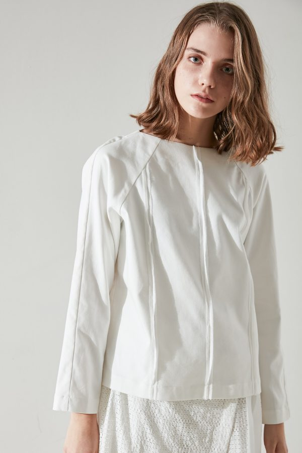 SKYE minimalist women clothing fashion Kate Chiffon Blouse Top white 6