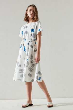 SKYE modern minimalist women clothing fashion Cora custom print dress blue