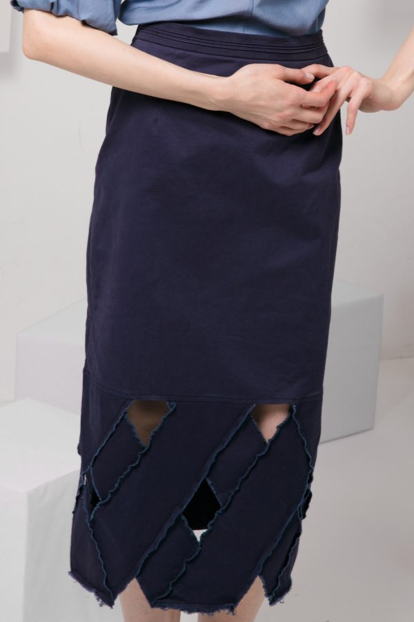 SKYE modern minimalist women clothing fashion Josie Midi Skirt blue 2