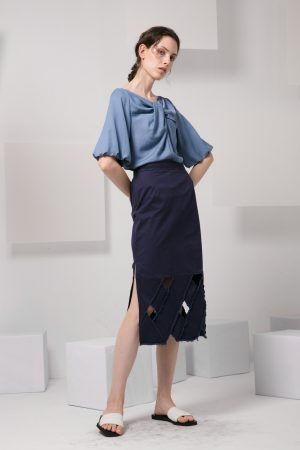 SKYE modern minimalist women clothing fashion Josie Midi Skirt blue