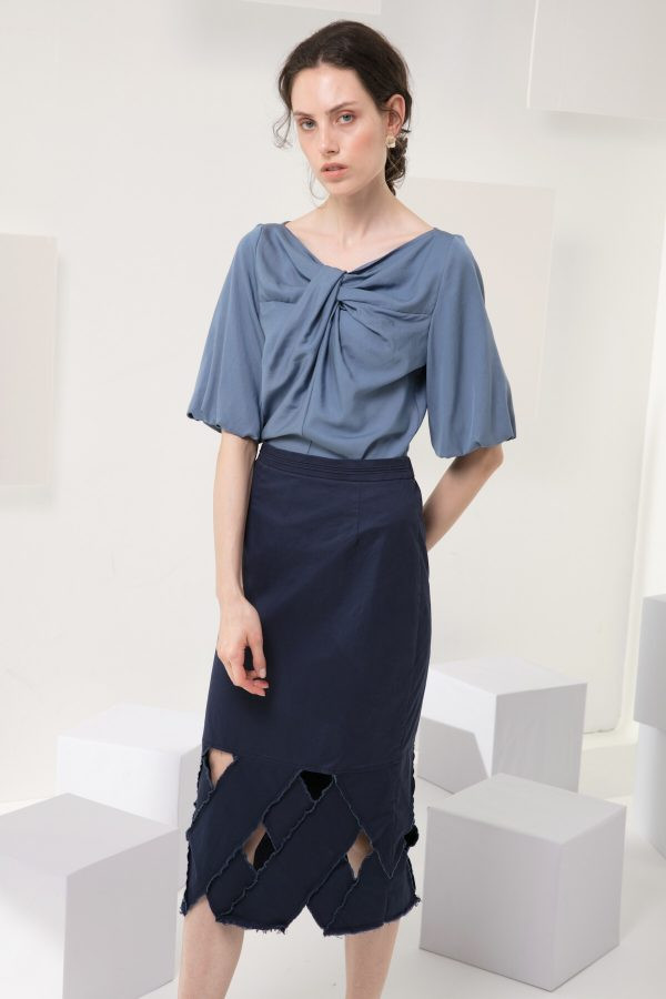 SKYE modern minimalist women clothing fashion Josie Midi Skirt blue 4