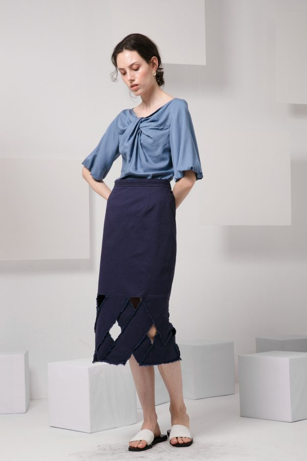SKYE modern minimalist women clothing fashion Josie Midi Skirt blue 5